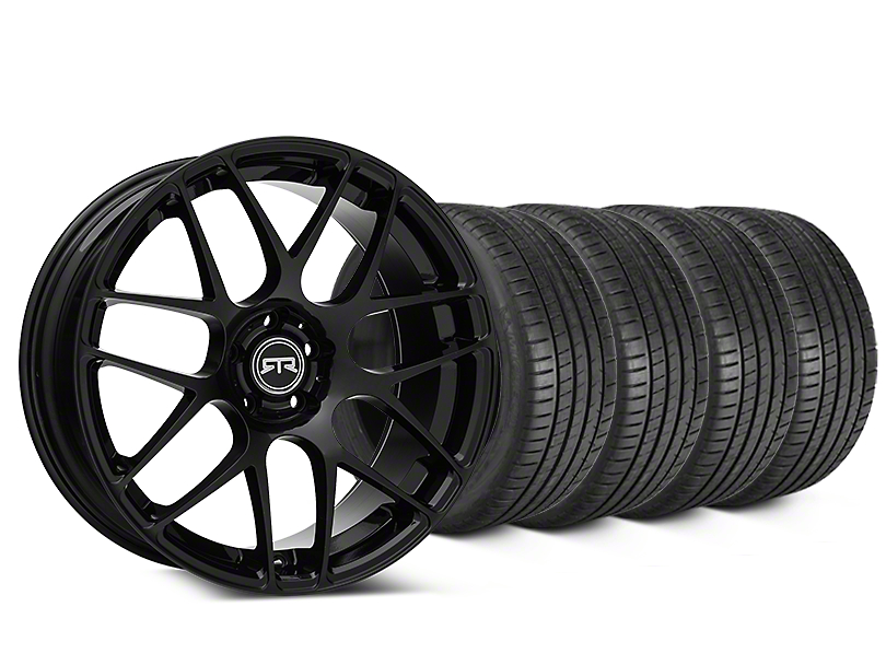 Staggered RTR Black Wheel & Michelin Pilot Super Sport Tire Kit - 20 in. - 2 Rear Options (15-18 All)