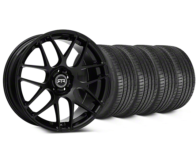 Staggered RTR Black Wheel & Michelin Pilot Super Sport Tire Kit - 20 in. - 2 Rear Options (15-19 All)