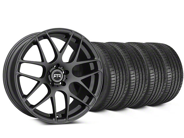 Staggered RTR Charcoal Wheel & Michelin Pilot Super Sport Tire Kit - 20 in. - 2 Rear Options (15-18 All)