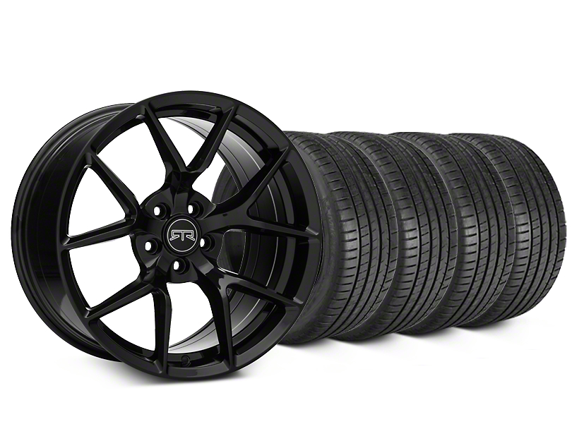 Staggered RTR Tech 5 Black Wheel & Michelin Pilot Super Sport Tire Kit - 20x9.5/10.5 (15-18 All)