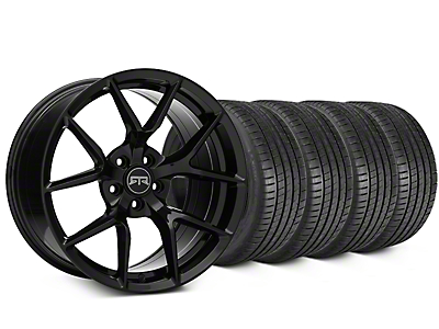 Staggered RTR Tech 5 Black Wheel & Michelin Pilot Super Sport Tire Kit - 20 in. - 2 Rear Options (15-18 All)