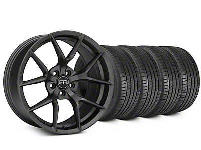 Staggered RTR Tech 5 Charcoal Wheel & Michelin Pilot Super Sport Tire Kit - 20 in. - 2 Rear Options (15-18 All)