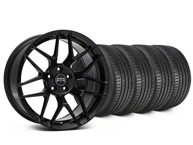 Staggered RTR Tech 7 Black Wheel & Michelin Pilot Super Sport Tire Kit - 20 in. - 2 Rear Options (15-17 All)