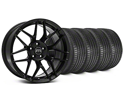 Staggered RTR Tech 7 Black Wheel & Michelin Pilot Super Sport Tire Kit - 20 in. - 2 Rear Options (15-18 All)