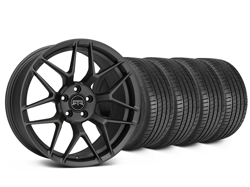 Staggered RTR Tech 7 Charcoal Wheel & Michelin Pilot Super Sport Tire Kit - 20 in. - 2 Rear Options (15-17 All)