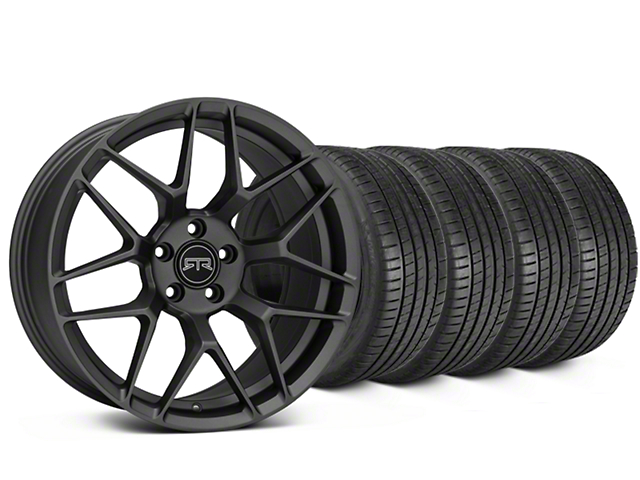 Staggered RTR Tech 7 Charcoal Wheel & Michelin Pilot Super Sport Tire Kit - 20 in. - 2 Rear Options (15-19 All)
