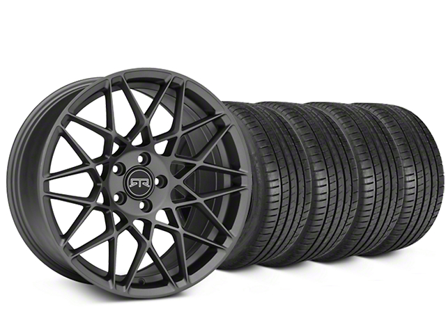 Staggered RTR Tech Mesh Charcoal Wheel & Michelin Pilot Super Sport Tire Kit - 20 in. - 2 Rear Options (15-18 All)