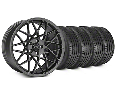 Staggered RTR Tech Mesh Charcoal Wheel & Michelin Pilot Super Sport Tire Kit - 20 in. - 2 Rear Options (15-19 All)