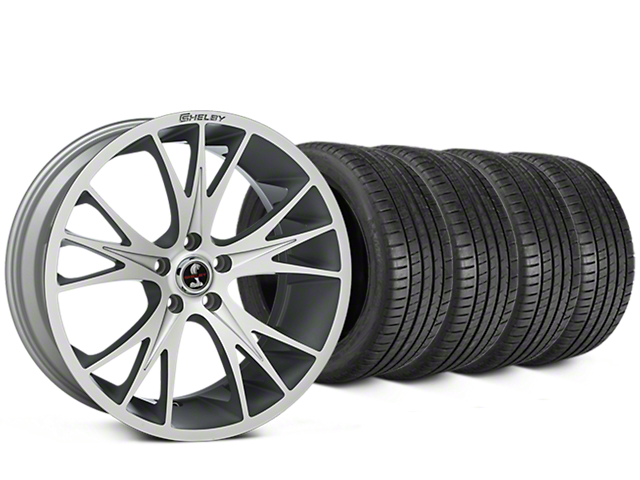 Staggered Shelby CS1 Hyper Silver Wheel & Michelin Pilot Super Sport Tire Kit - 20 in. - 2 Rear Options (15-17 All)