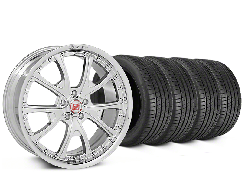 Staggered Shelby CS40 Chrome Wheel & Michelin Pilot Super Sport Tire Kit - 20 in. - 2 Rear Options (15-17 All)