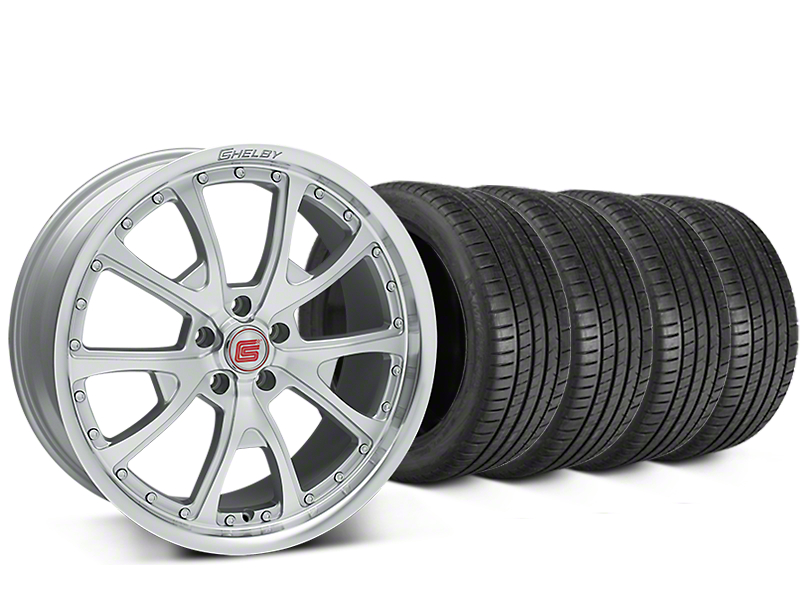 Staggered Shelby CS40 Silver Machined Wheel & Michelin Pilot Super Sport Tire Kit - 20 in. - 2 Rear Options (15-17 All)