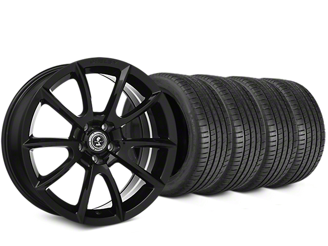 Staggered Shelby Super Snake Style Black Wheel & Michelin Pilot Super Sport Tire Kit - 20 in. - 2 Rear Options (15-17 All)