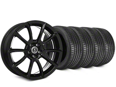 Staggered Shelby Super Snake Style Black Wheel & Michelin Pilot Super Sport Tire Kit - 20 in. - 2 Rear Options (15-18 All)