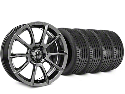 Staggered Shelby Super Snake Style Chrome Wheel & Michelin Pilot Super Sport Tire Kit - 20 in. - 2 Rear Options (15-18 All)