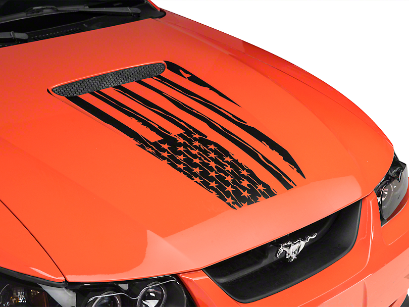 American Muscle Graphics Distressed Flag Hood Decal - Matte Black (99-04 All)