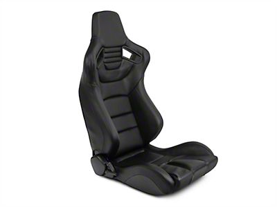 SpeedForm Black Racing Seat w/ Black Carbon Fiber Vinyl - Pair (79-18 All)