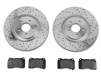 Xtreme Stop Precision Cross-Drilled & Slotted Rotors w/ Carbon Graphite Brake Pad Kit - Front (11-14 GT Brembo; 12-13 BOSS 302; 07-12 GT500)