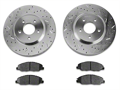 Xtreme Stop Precision Cross-Drilled & Slotted Rotors w/ Carbon Graphite Brake Pad Kit - Front (11-14 V6)