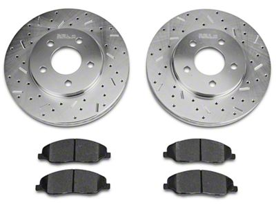 Xtreme Stop Precision Cross-Drilled & Slotted Rotor w/ Carbon Graphite Brake Pad Kit - Front (05-10 V6)