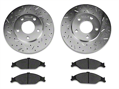 Xtreme Stop Precision Cross-Drilled & Slotted Rotor w/ Carbon Graphite Brake Pad Kit - Front (99-04 GT, V6)