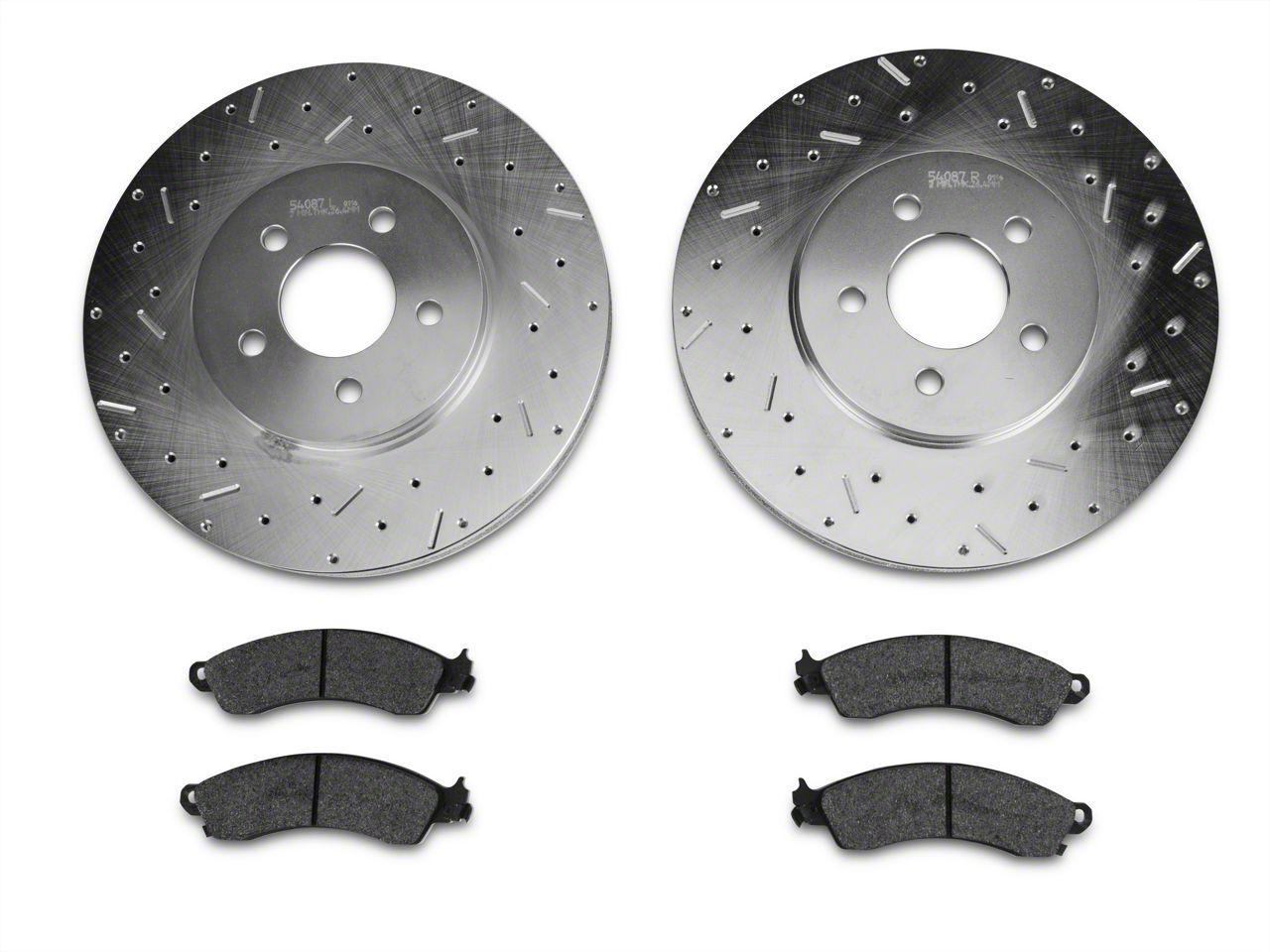 Xtreme Stop Precision Cross-Drilled & Slotted Rotors w/ Carbon Graphite Brake Pad Kit - Front (94-04 Cobra, Bullitt, Mach 1)