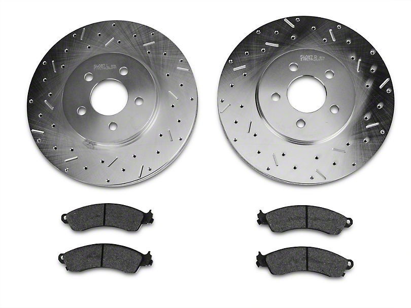 Xtreme Stop Precision Cross-Drilled & Slotted Rotors w/ Carbon Graphite Brake Pad Kit - Front (94-04 Cobra, Bullitt, Mach 1)