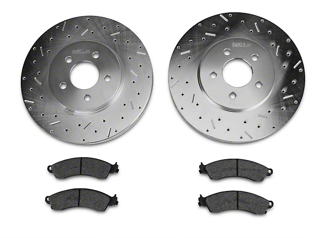Xtreme Stop Precision Cross-Drilled & Slotted Rotors w/ Carbon Graphite Brake Pad Kit - Front (94-04 Bullitt, Mach 1, Cobra)