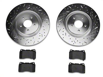 Xtreme Stop Precision Drilled & Slotted Rotor w/ Ceramic Brake Pad Kit - Front (11-14 GT Brembo; 12-13 BOSS 302; 07-12 GT500)