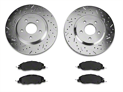 Xtreme Stop Precision Cross-Drilled & Slotted Rotors w/ Ceramic Brake Pad Kit - Front (11-14 V6)
