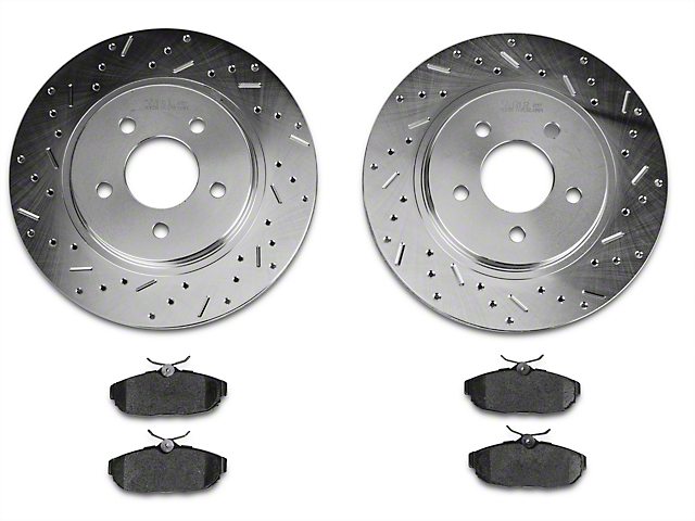 Xtreme Stop Precision Cross-Drilled & Slotted Rotor w/ Carbon Graphite Brake Pad Kit - Rear (05-10 All)
