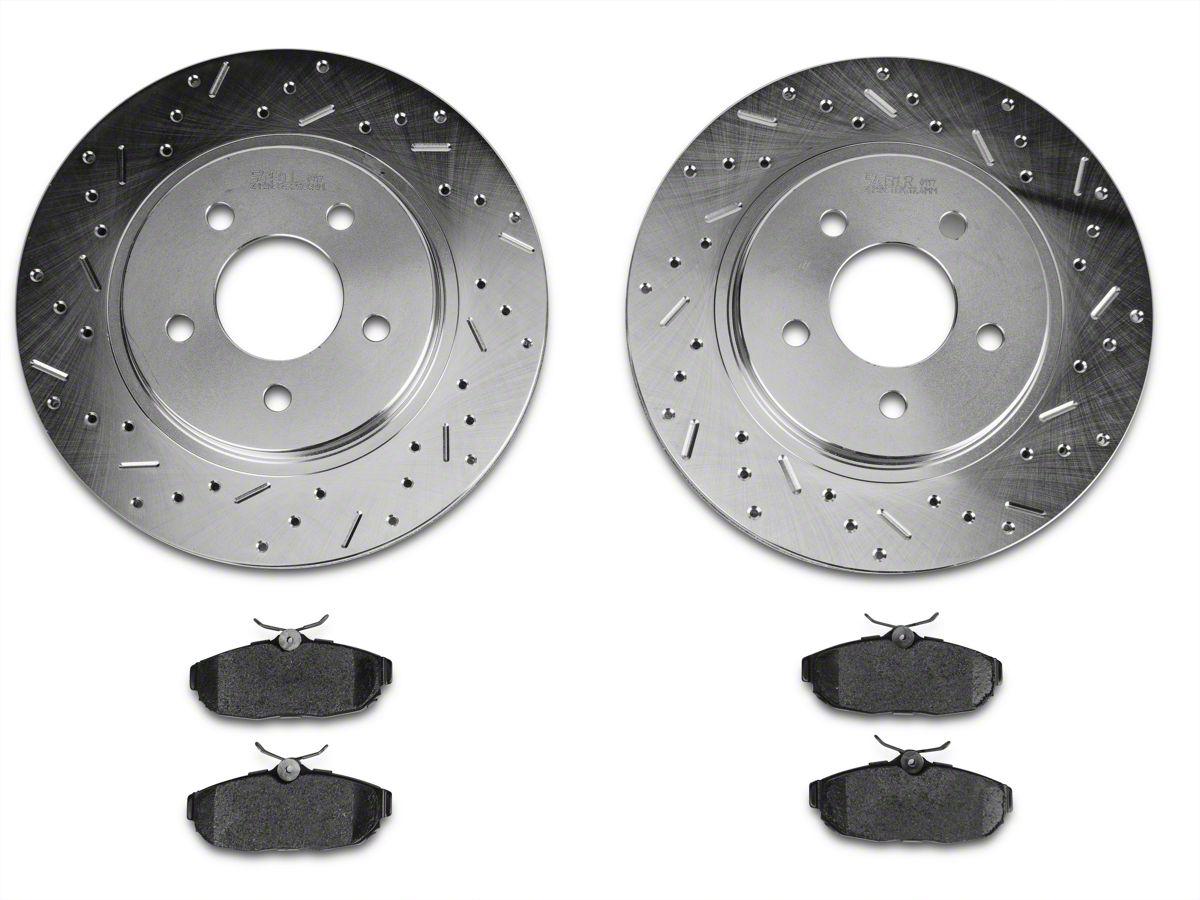 For 1992-1993 Toyota Camry Rear Drill Slot Brake Rotors Ceramic Brake Pads