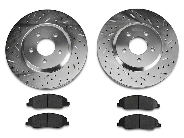 Xtreme Stop Precision Drilled and Slotted Brake Rotor and Ceramic Pad Kit; Front (05-10 GT)
