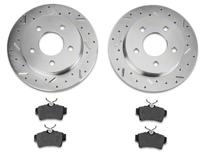 Xtreme Stop Precision Cross-Drilled & Slotted Rotor w/ Carbon Graphite Brake Pad Kit - Rear (94-04 GT, V6)