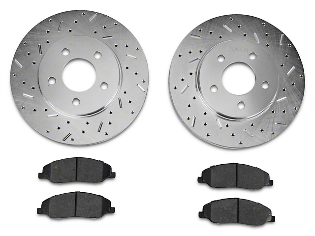 Xtreme Stop Precision Cross-Drilled & Slotted Rotor w/ Ceramic Brake Pad Kit - Front (05-10 V6)