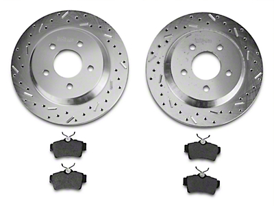 Xtreme Stop Precision Cross-Drilled & Slotted Rotors w/ Carbon Graphite Brake Pad Kit - Rear (94-04 Cobra, Bullitt, Mach 1)