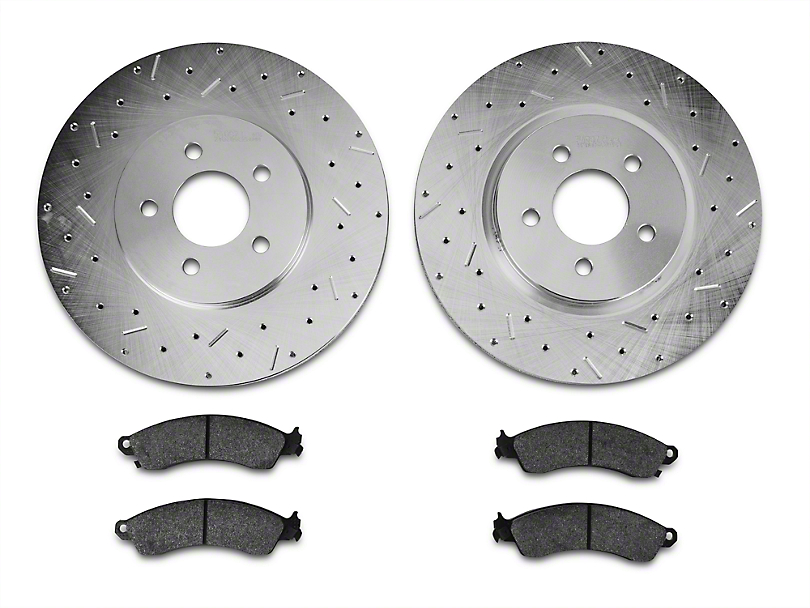 Xtreme Stop Precision Drilled & Slotted Rotor w/ Ceramic Brake Pad Kit - Front (94-04 Bullitt, Mach 1, Cobra)