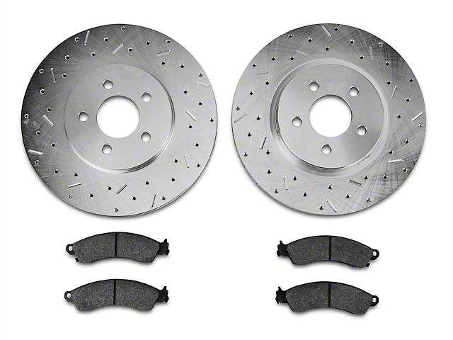Xtreme Stop Precision Drilled & Slotted Rotor w/ Ceramic Brake Pad Kit - Front (94-04 Cobra, Bullitt, Mach 1)