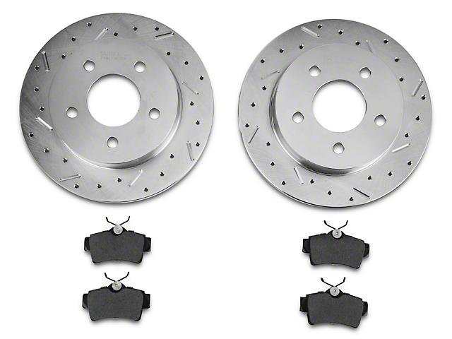 Xtreme Stop Precision Cross-Drilled & Slotted Rotors w/ Ceramic Brake Pad Kit - Rear (94-04 GT, V6)
