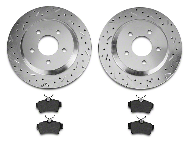 Xtreme Stop Precision Cross-Drilled & Slotted Rotors w/ Ceramic Brake Pad Kit - Rear (94-04 Cobra, Bullitt, Mach 1)