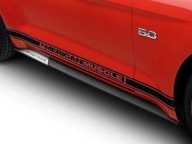 Modern Billet Stainless Steel Rocker Panel Trim w/ Mustang Logo (15-19 All)
