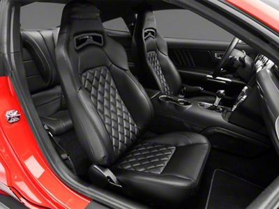Corbeau Trailcat Diamond Pattern Seats w/ Black Stitching - Black Vinyl - Pair (79-19 All)
