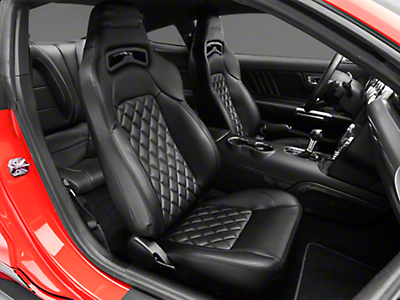 Corbeau Trailcat Diamond Pattern Seat w/ Black Stitching - Black Vinyl - Pair (79-17 All)