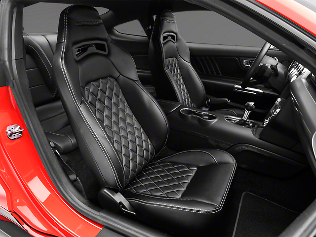 Corbeau Trailcat Diamond Pattern Seats w/ White Stitching - Black Vinyl - Pair (79-20 All)