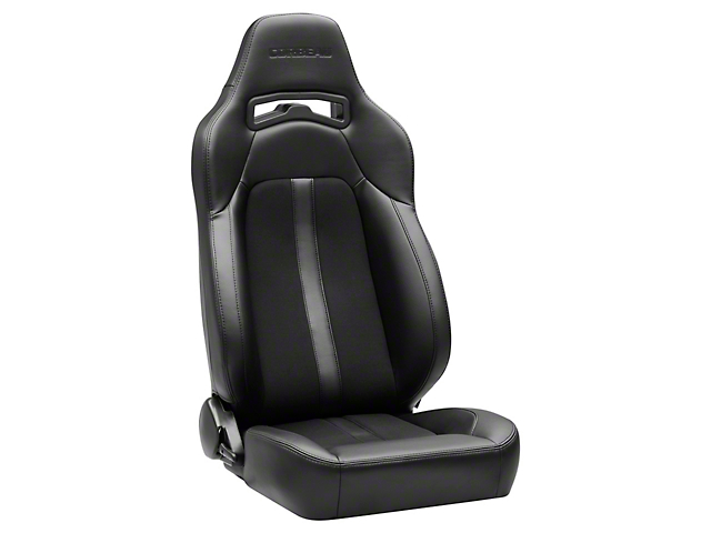 Corbeau Trailcat Reclining Seats; Black Vinyl/Cloth/Black Stitching; Pair (79-20 All)