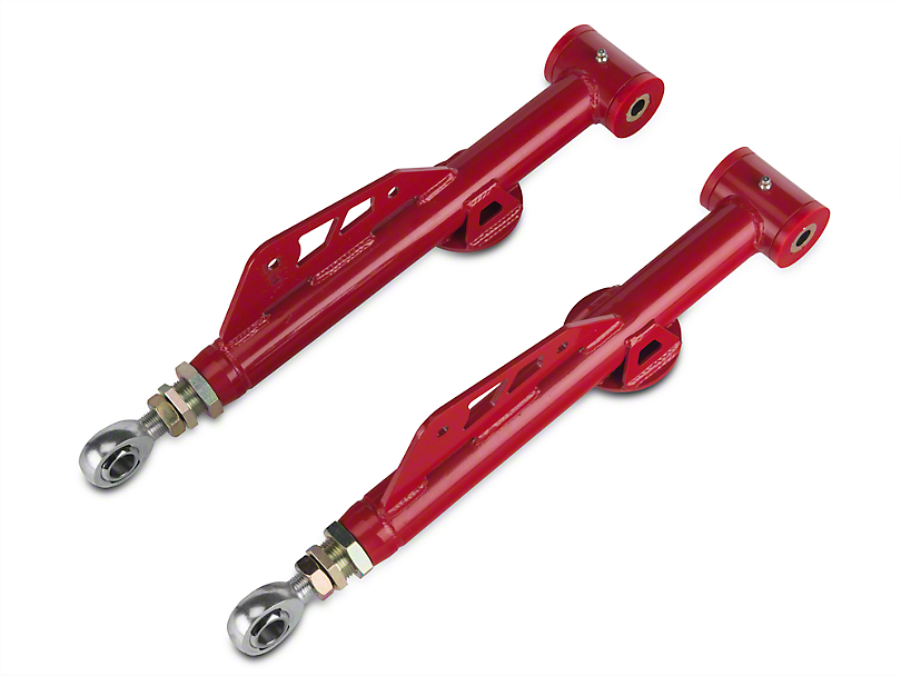 BMR On-Car Adjustable Rear Lower Control Arms - Poly Bushings & Rod Ends - Red (99-04 All, Excluding Cobra)