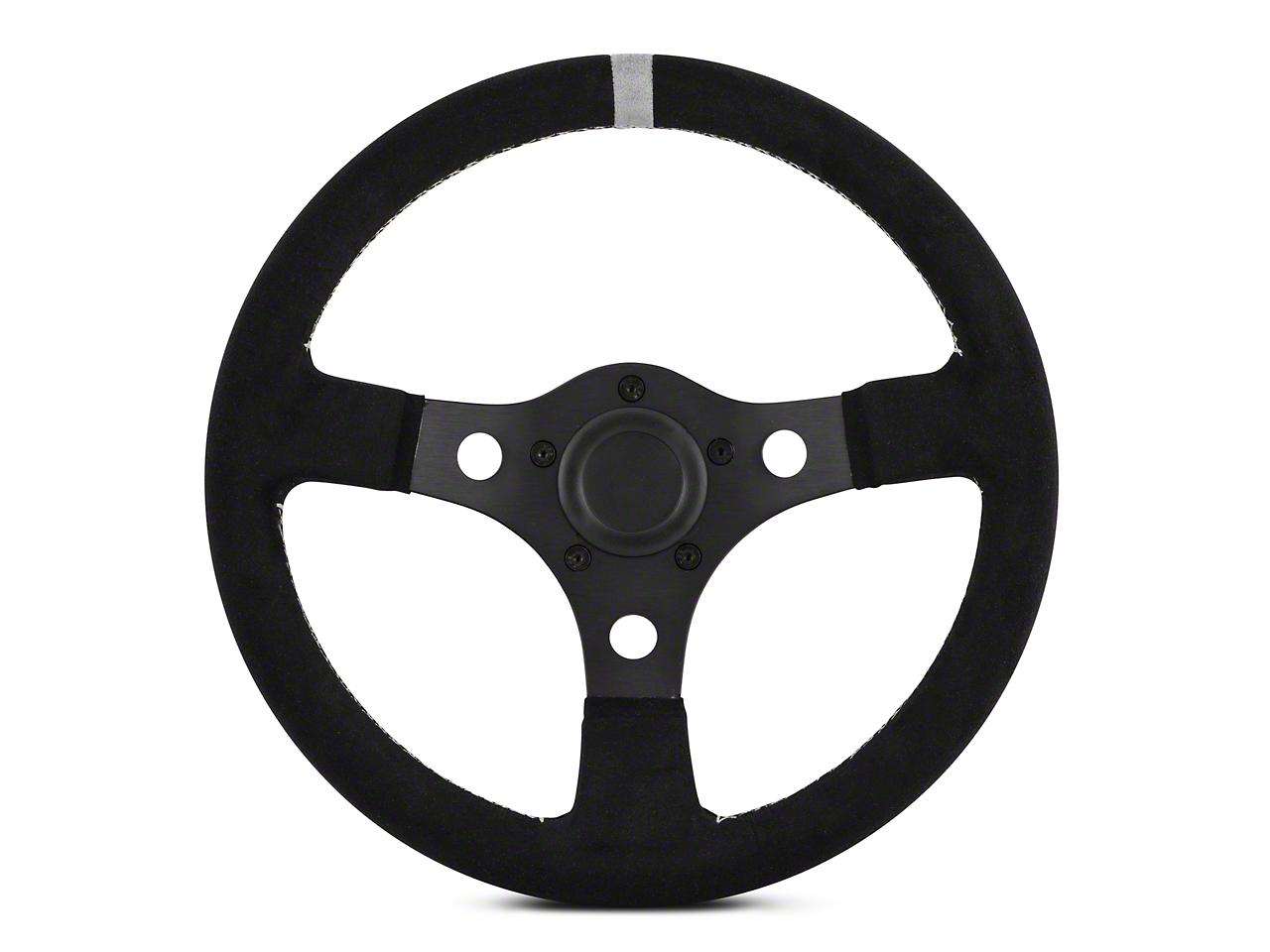 MMD 13 in. Black Suede Performance Steering Wheel - Gray Center Stripe (84-14 All)
