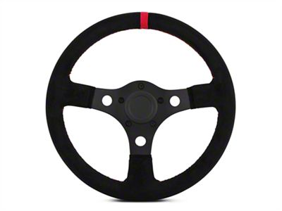 MMD 13 in. Black Suede Performance Steering Wheel - Red Center Stripe (84-14 All)