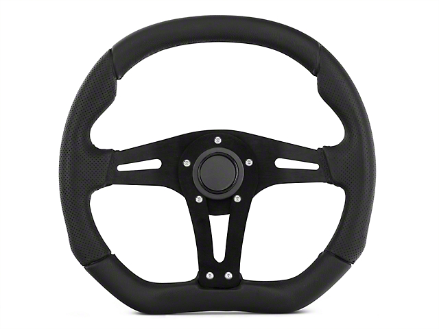 MMD Performance Steering Wheel - 13.5 in. x 11.75 in. Flat Bottom - Black (84-14 All)