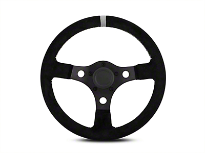 MMD 13 in. Black Suede Performance Steering Wheel w/ Quick Disconnect Kit - Gray Center Stripe (84-04 All)