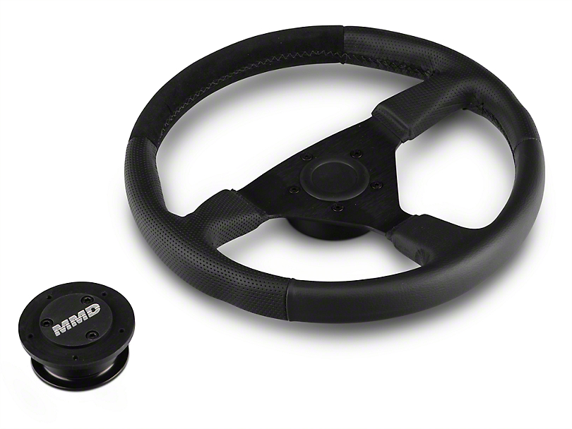 MMD 13.5 in. Leather & Suede Performance Steering Wheel w/ Quick Disconnect Kit - Black (05-14 All)